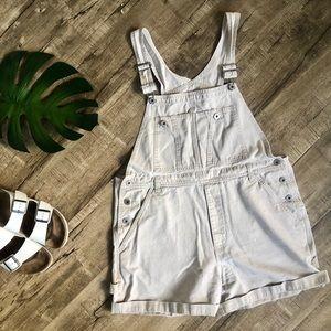 Calvin Klein Stonewashed Khaki Overall Shorts Lg